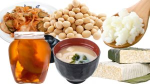Фото деяких ферментованих продуктів: бобові, соління, рис